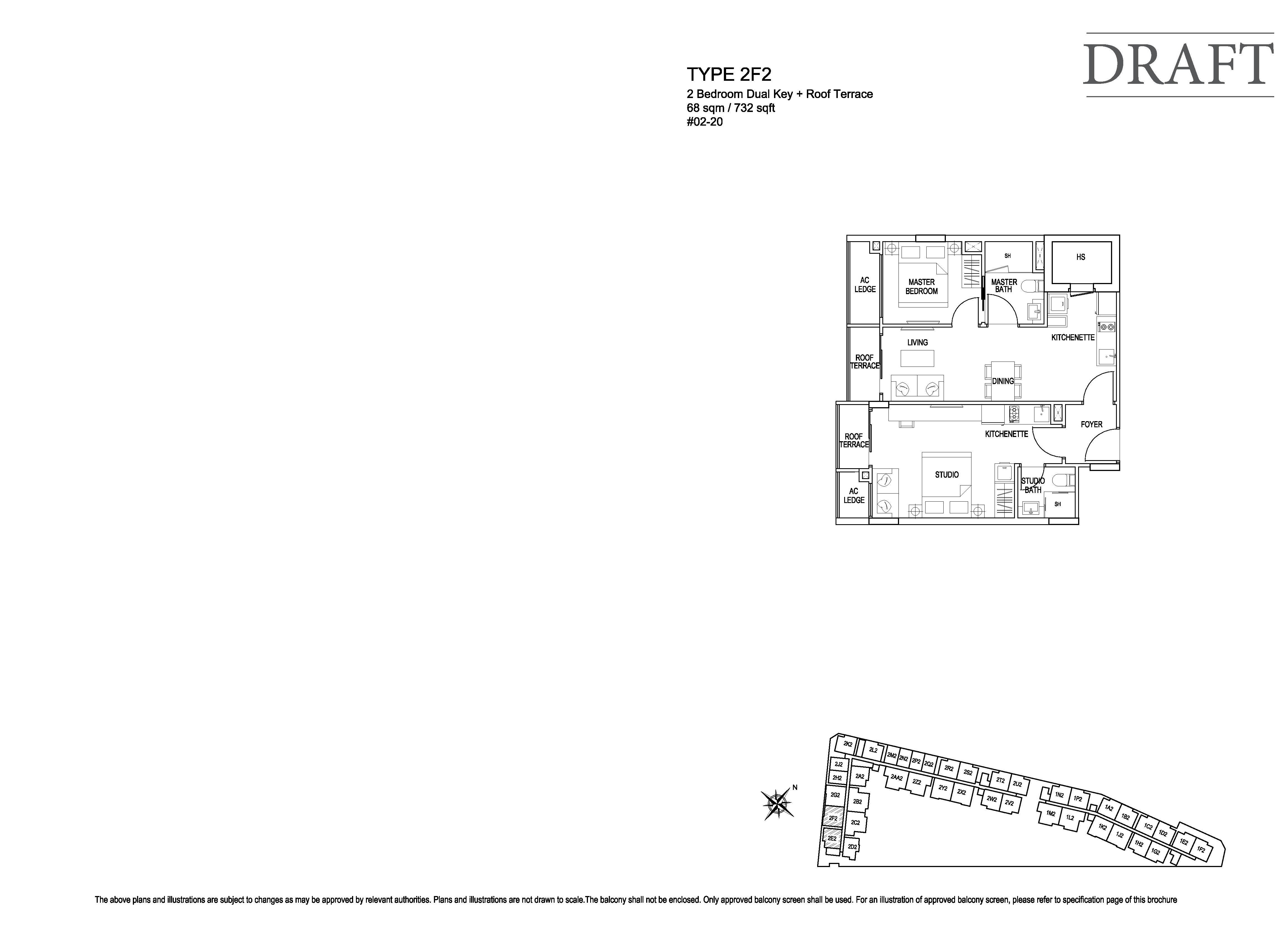 Kensington Square 2 Bedroom Dual Key Floor Plans Type 2F2