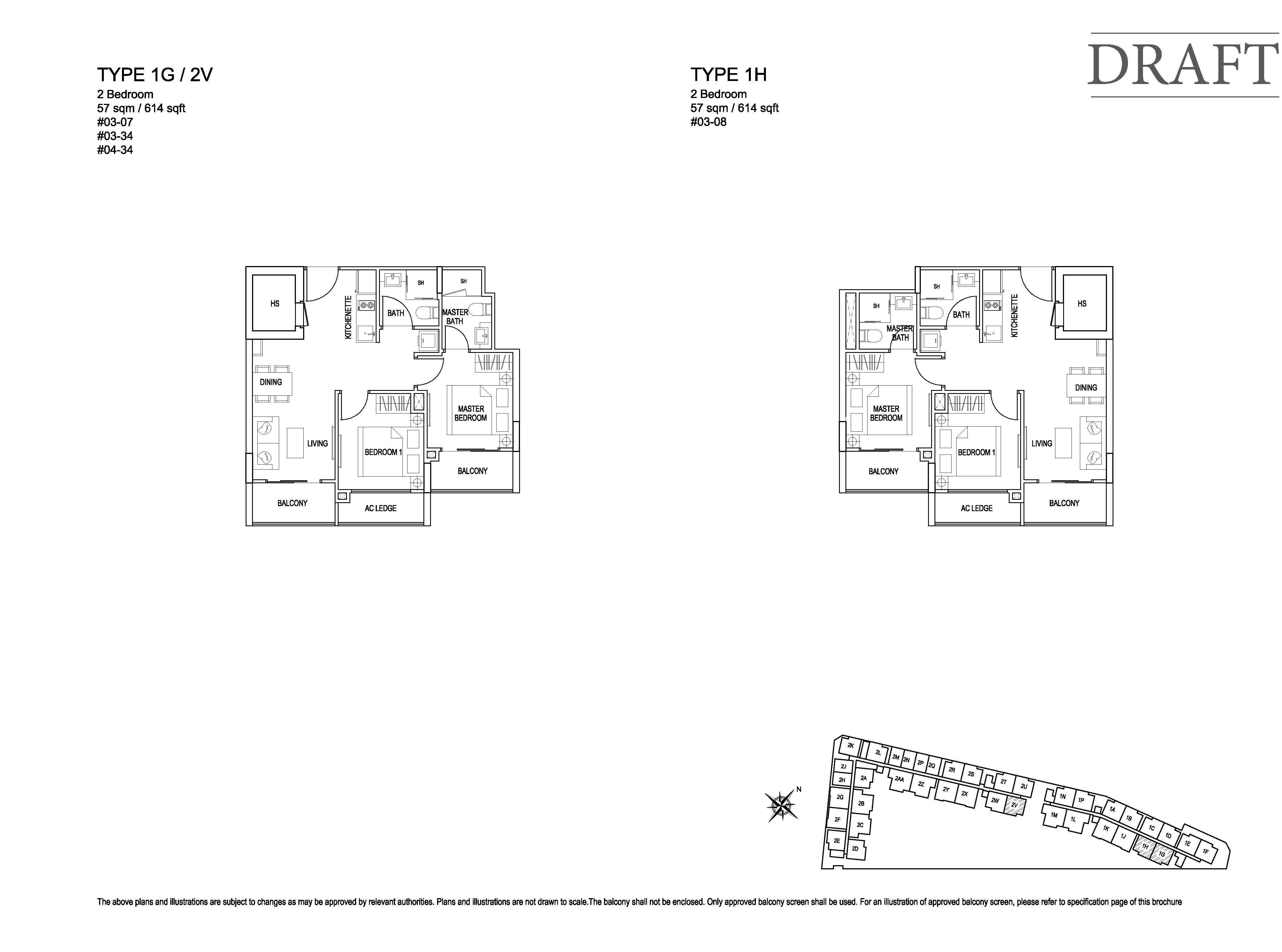 Kensington Square 2 Bedroom Floor Plans Type 1G, 2V, 1H