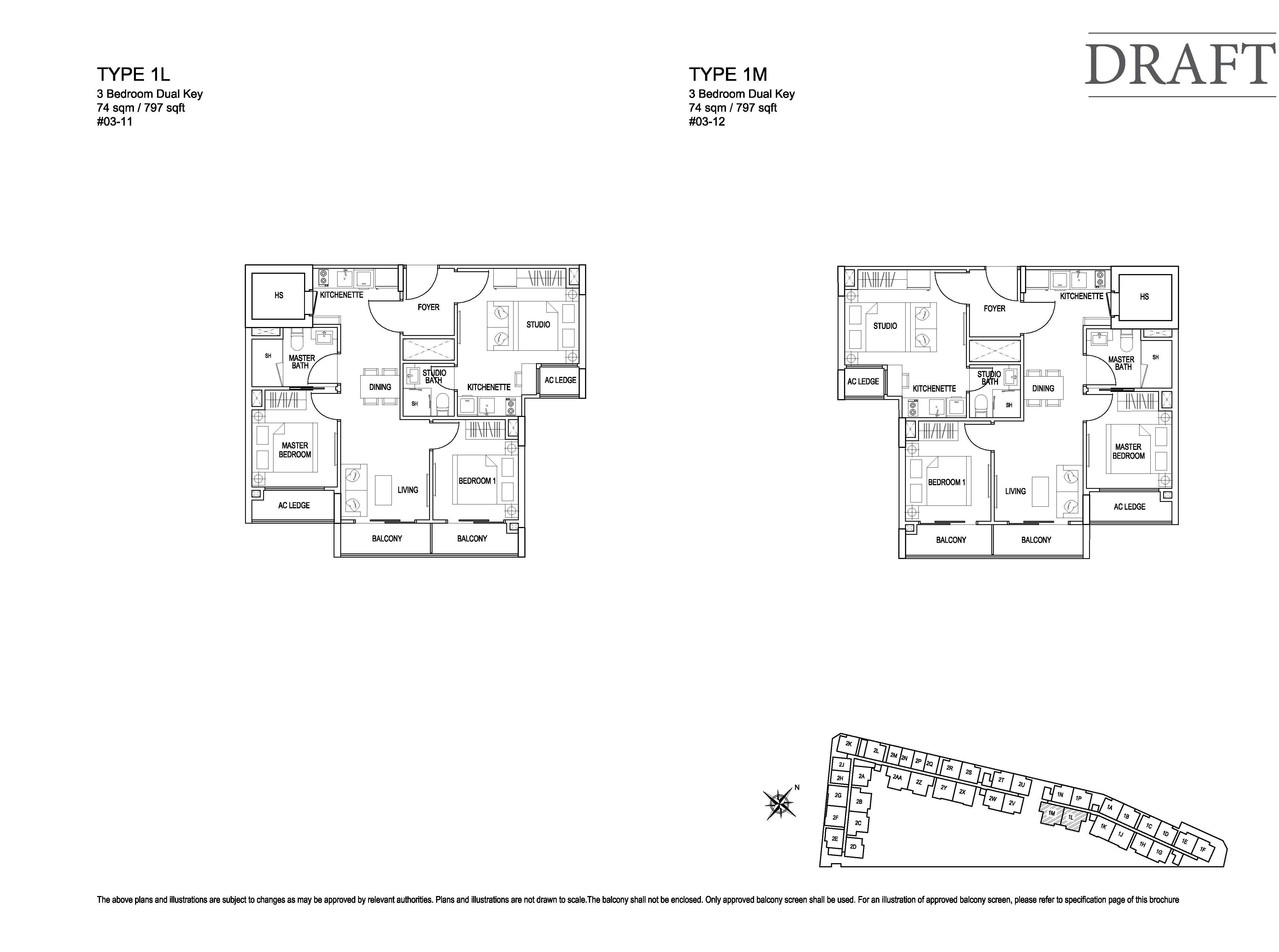 Kensington Square 3 Bedroom Dual Key Floor Plans Type 1L, 1M