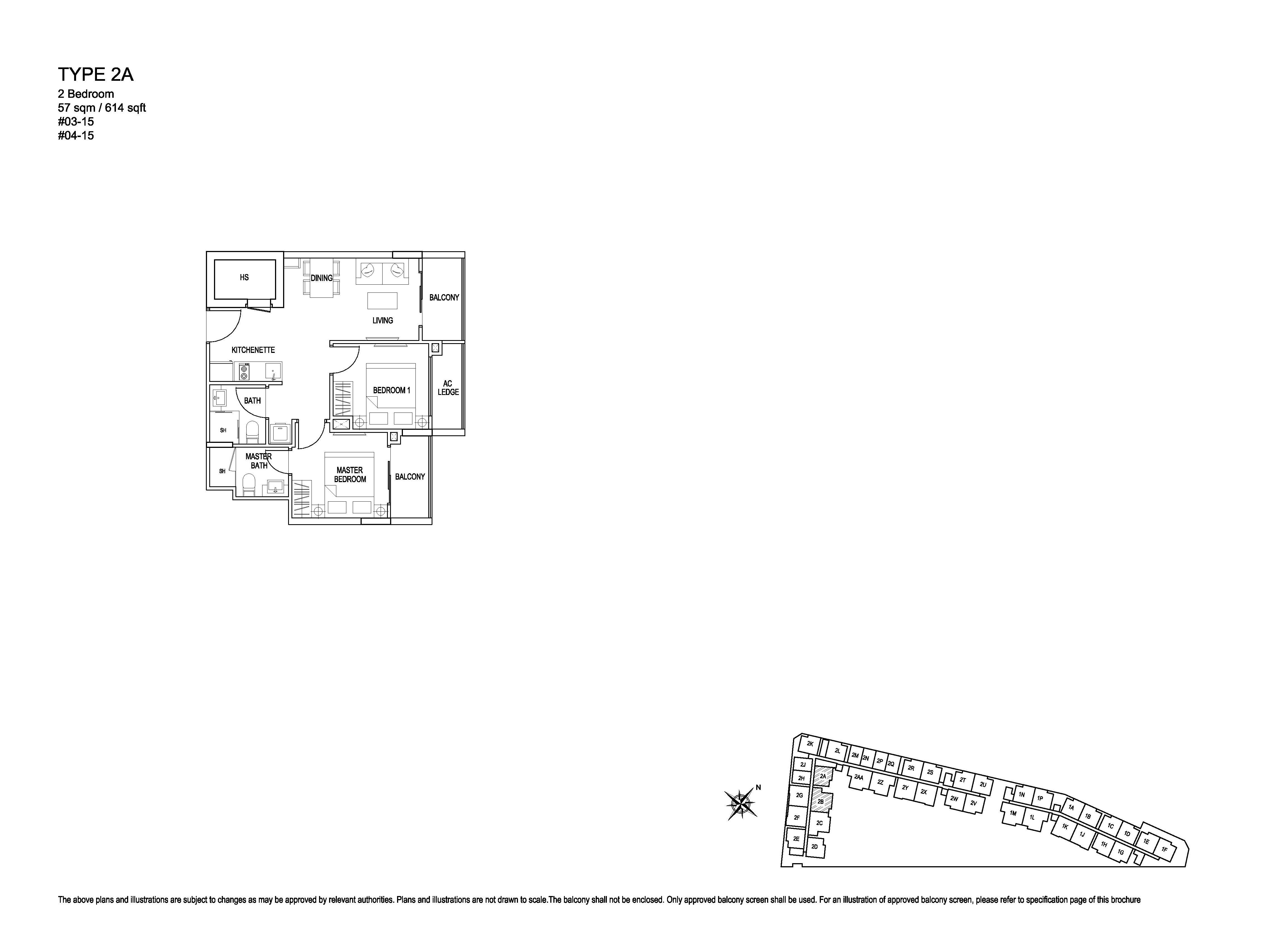 Kensington Square 2 Bedroom Floor Plans Type 2A