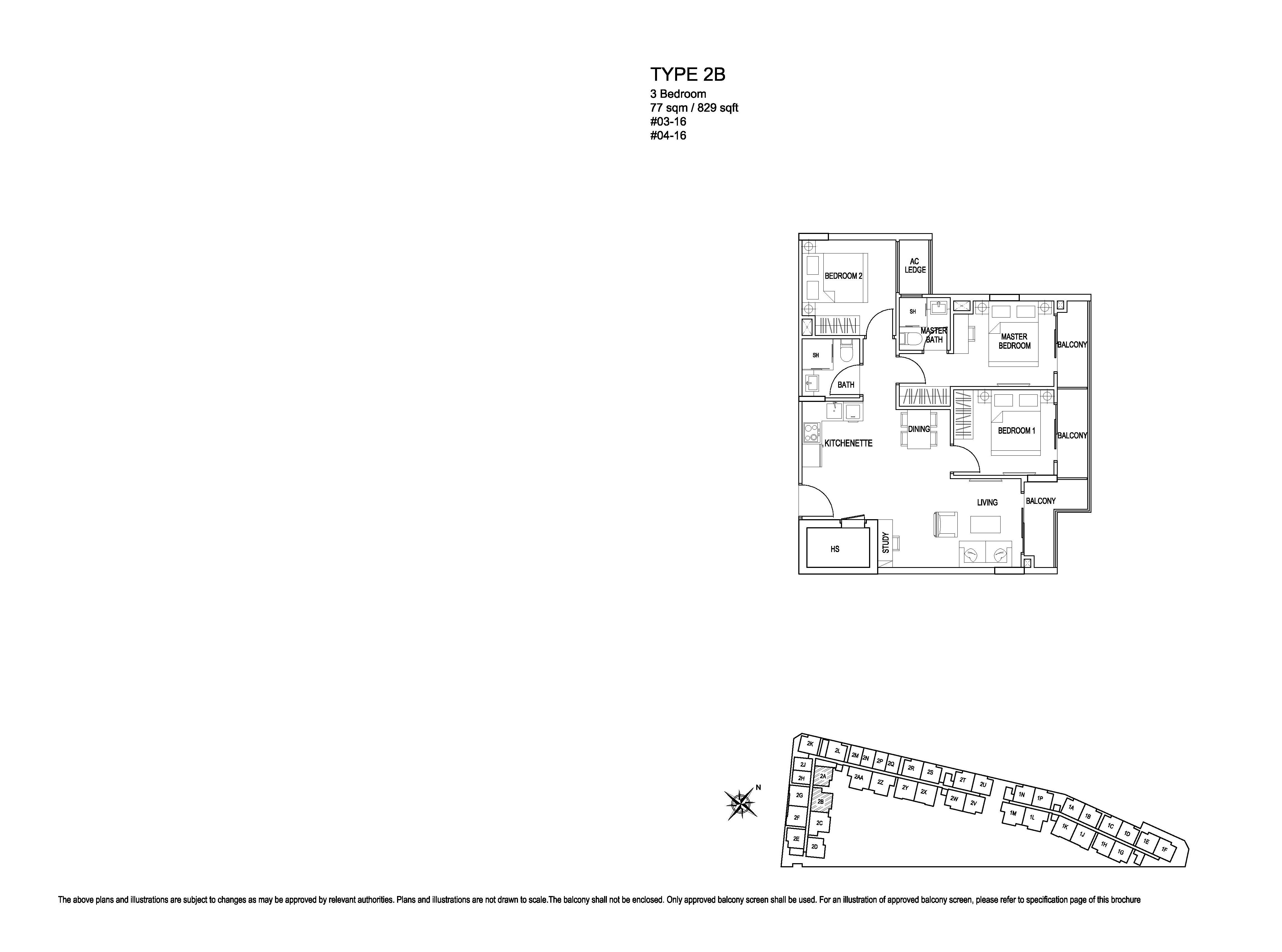 Kensington Square 3 Bedroom Floor Plans Type Type 2B