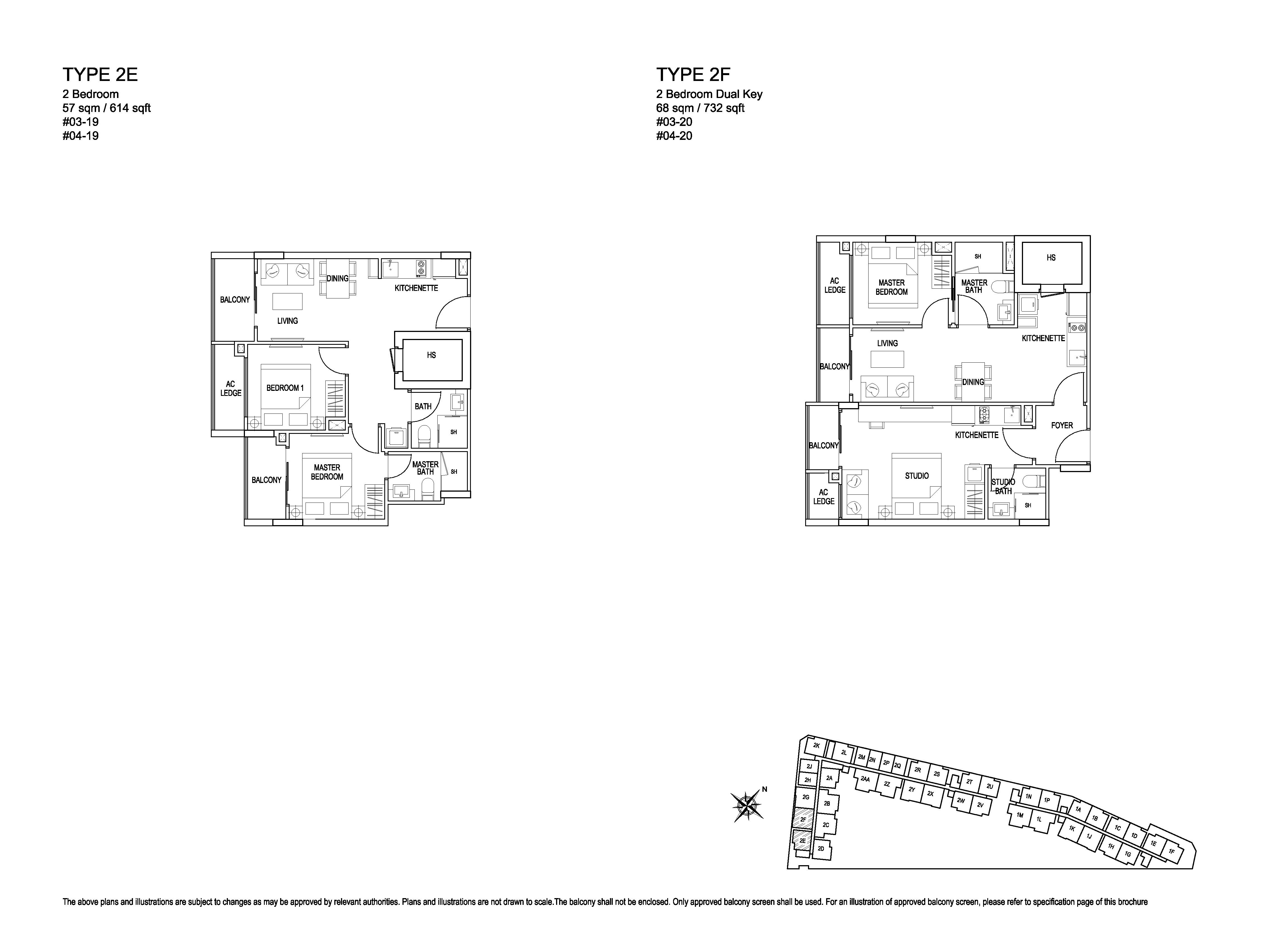 Kensington Square 2 Bedroom Dual Key Floor Plans Type 2F