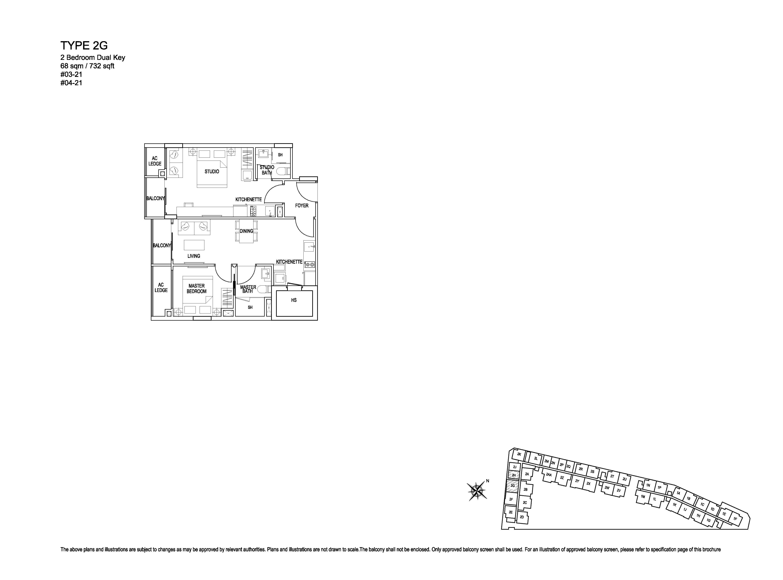 Kensington Square 2 Bedroom Dual Key Floor Plans Type 2G