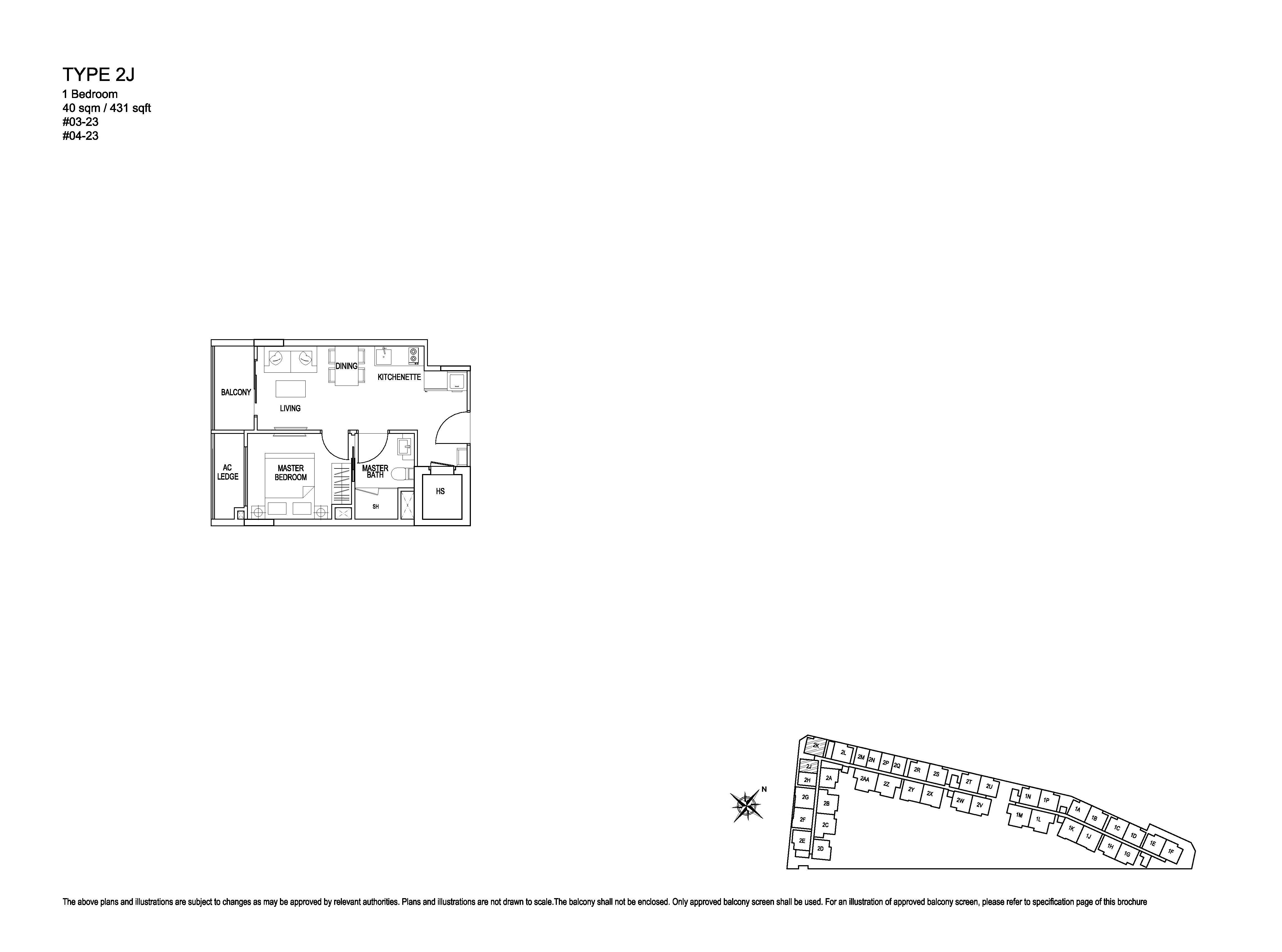 Kensington Square 1 Bedroom Floor Plans Type 2J