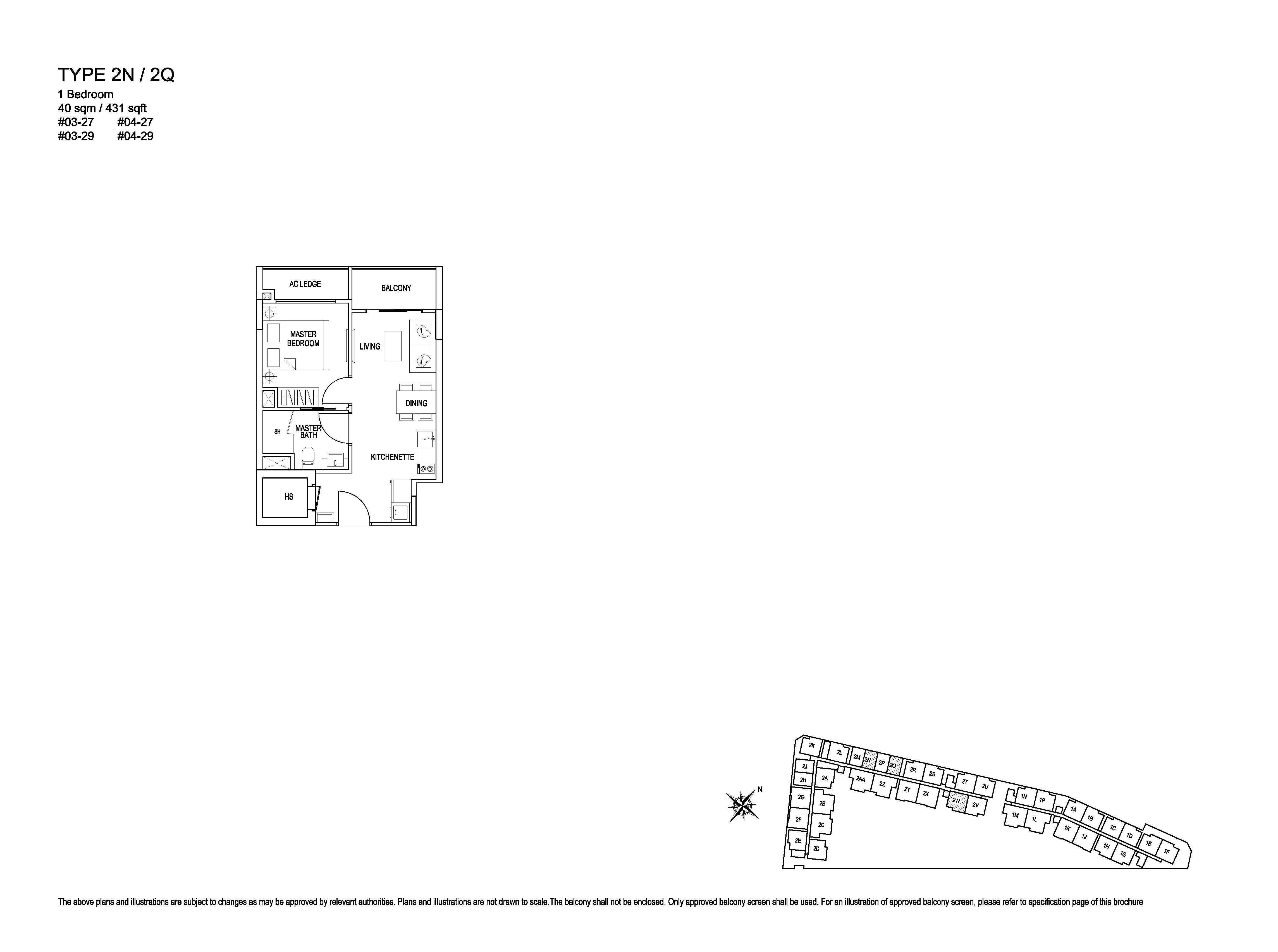 Kensington Square 1 Bedroom Floor Plans Type 2N/2Q