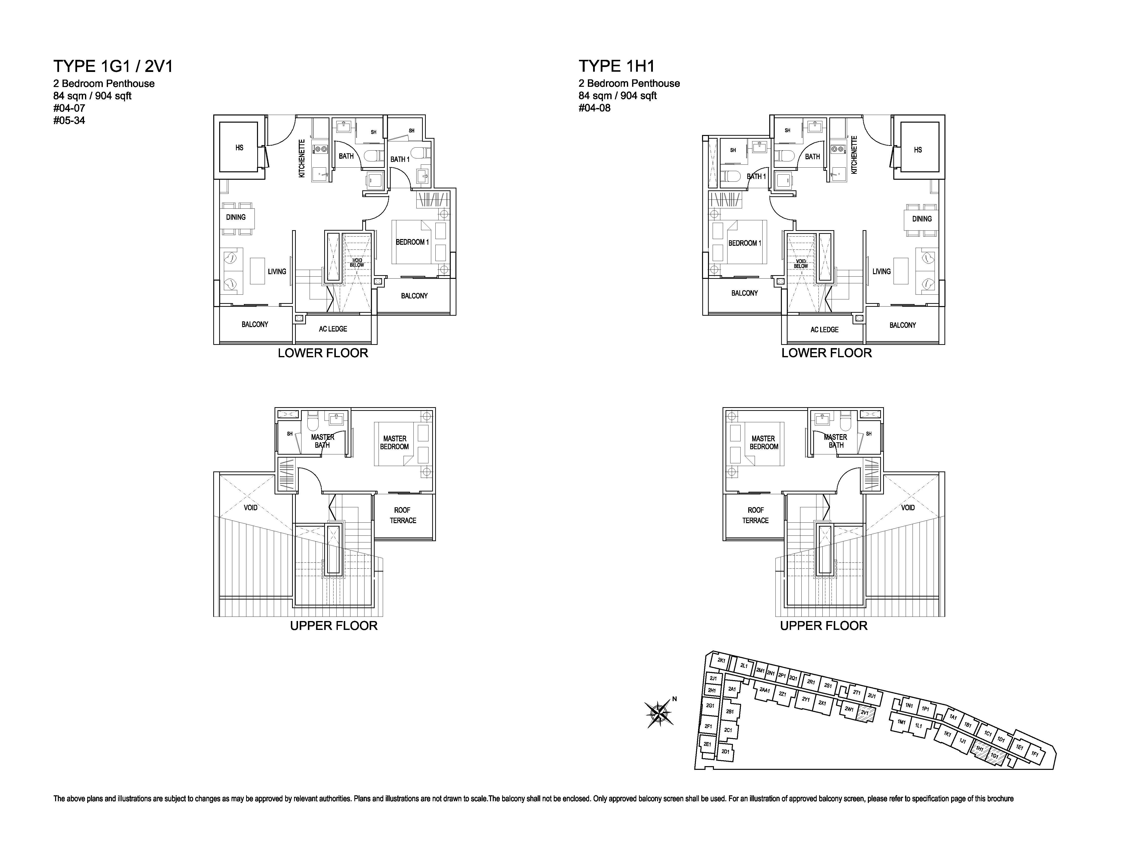 Kensington Square 2 Bedroom Penthouse Floor Plans Type 1G1, 2V1, 1H1