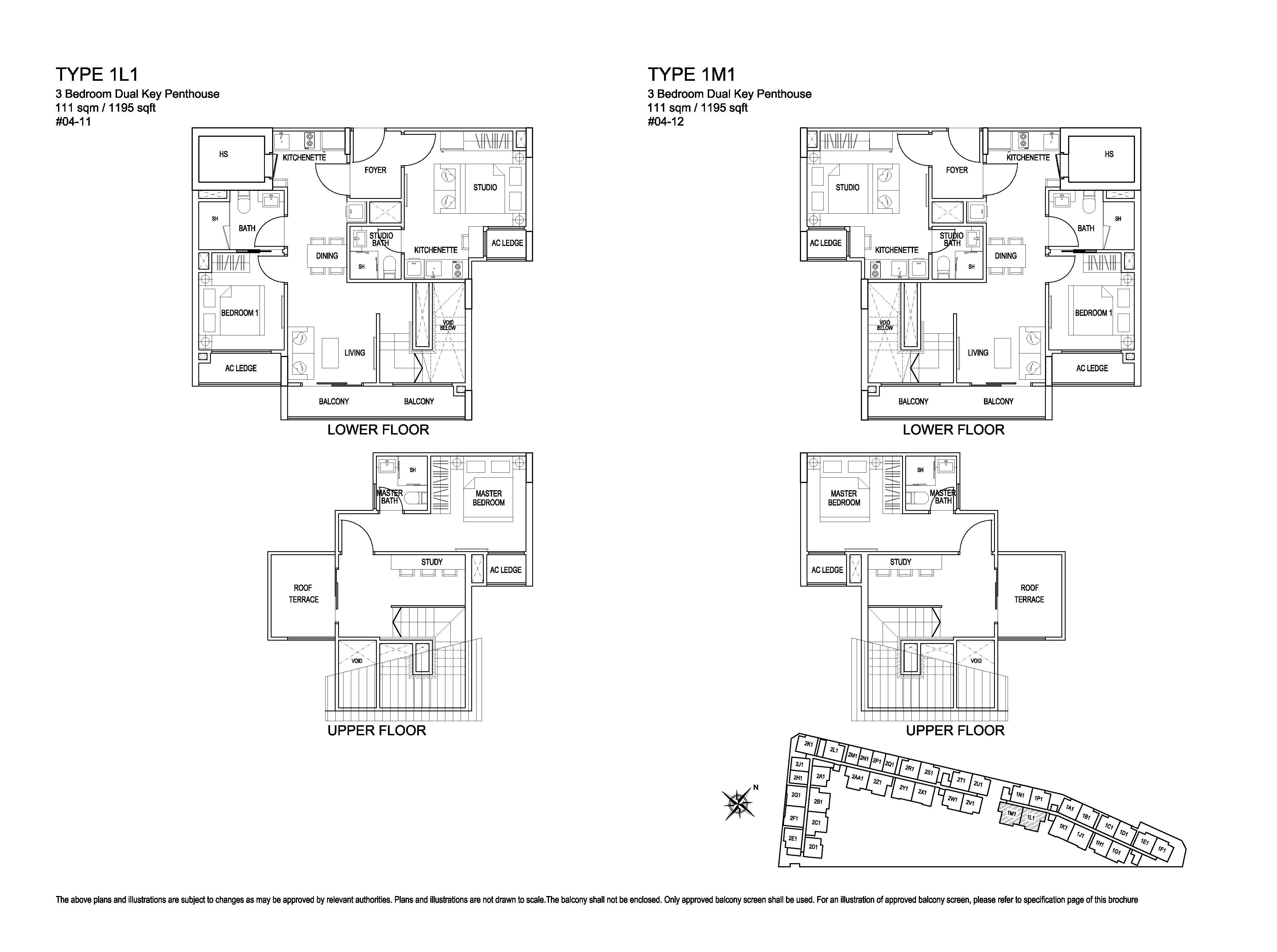 Kensington Square 3 Bedroom Dual Key Penthouse Floor Plans Type 1L1, 1M1