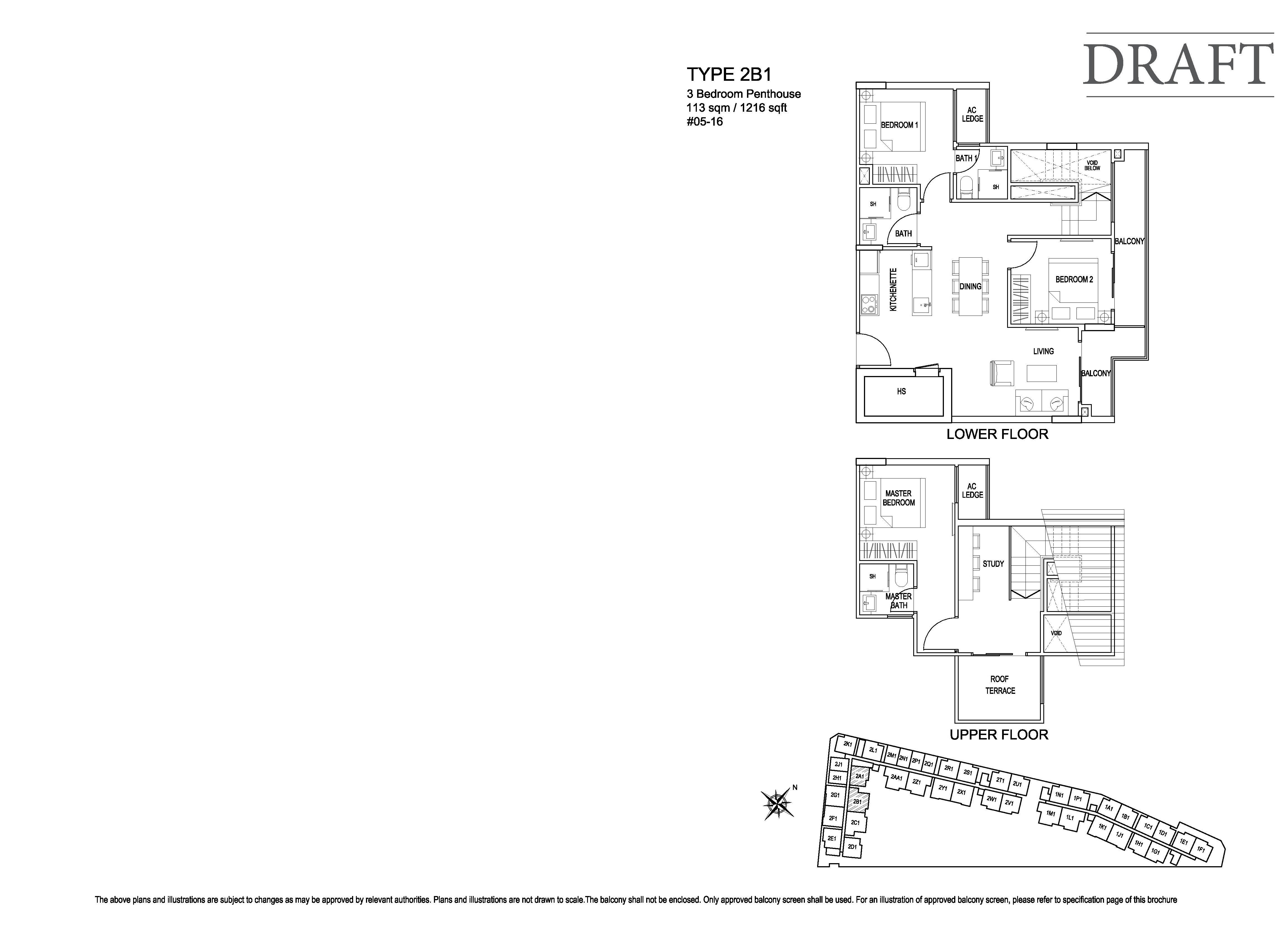 Kensington Square 3 Bedroom Penthouse Floor Plans Type 2B1