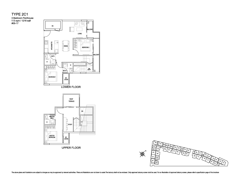 Kensington Square 3 Bedroom Penthouse Floor Plans Type 2C1