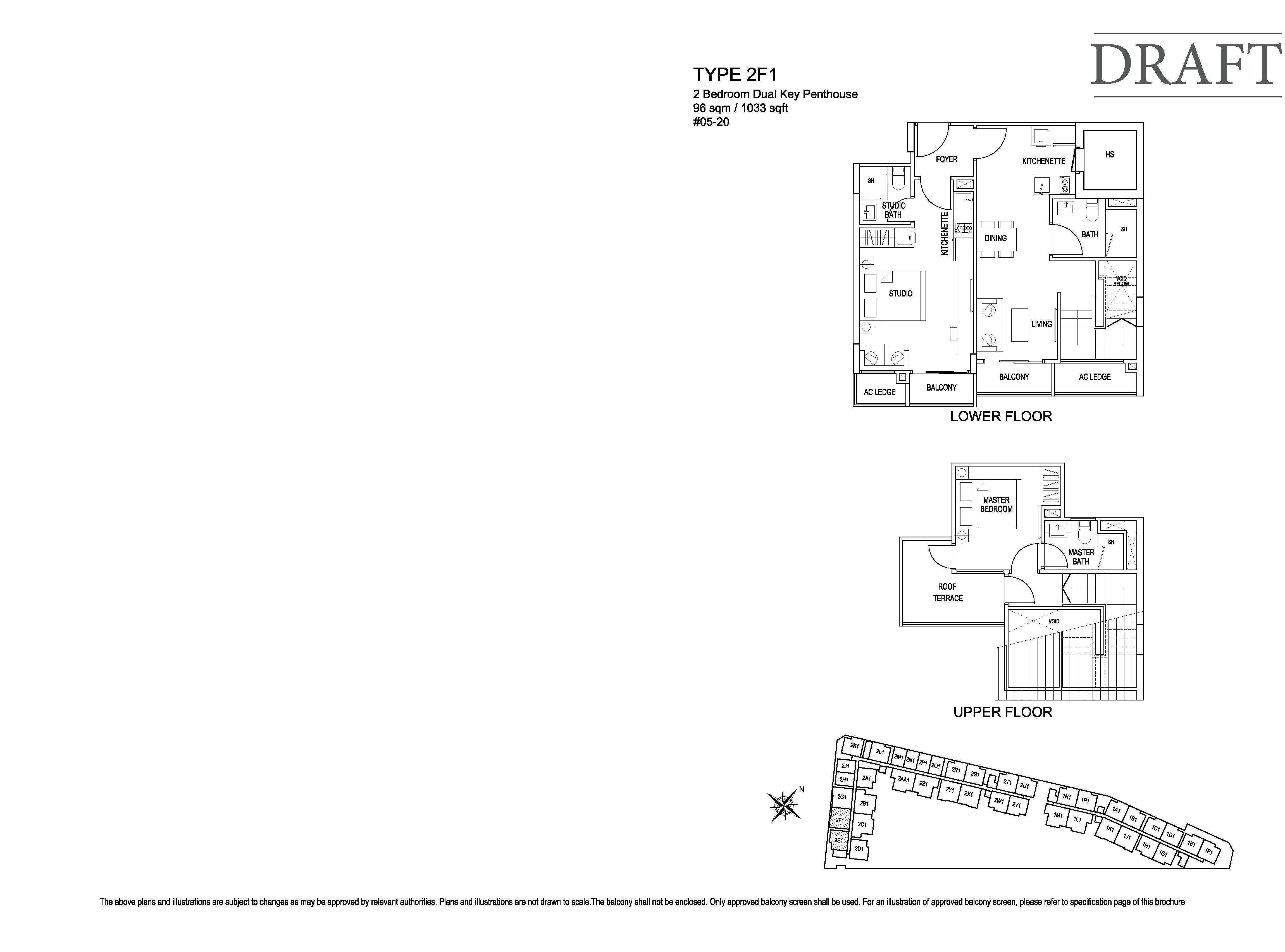 Kensington Square 2 Bedroom Dual Key Penthouse Floor Plans Type 2F1