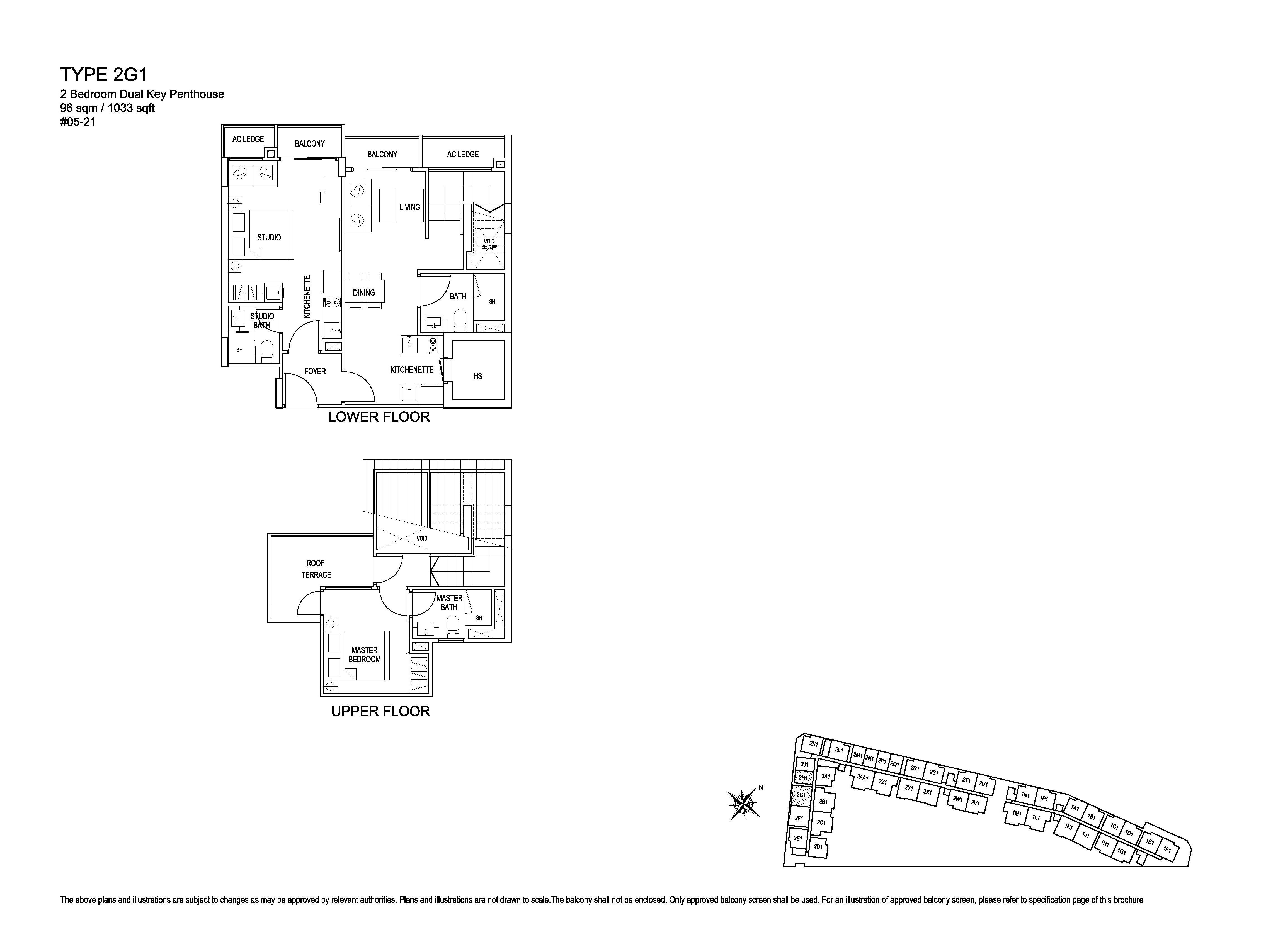 Kensington Square 2 Bedroom Dual Key Penthouse Floor Plans Type 2G1