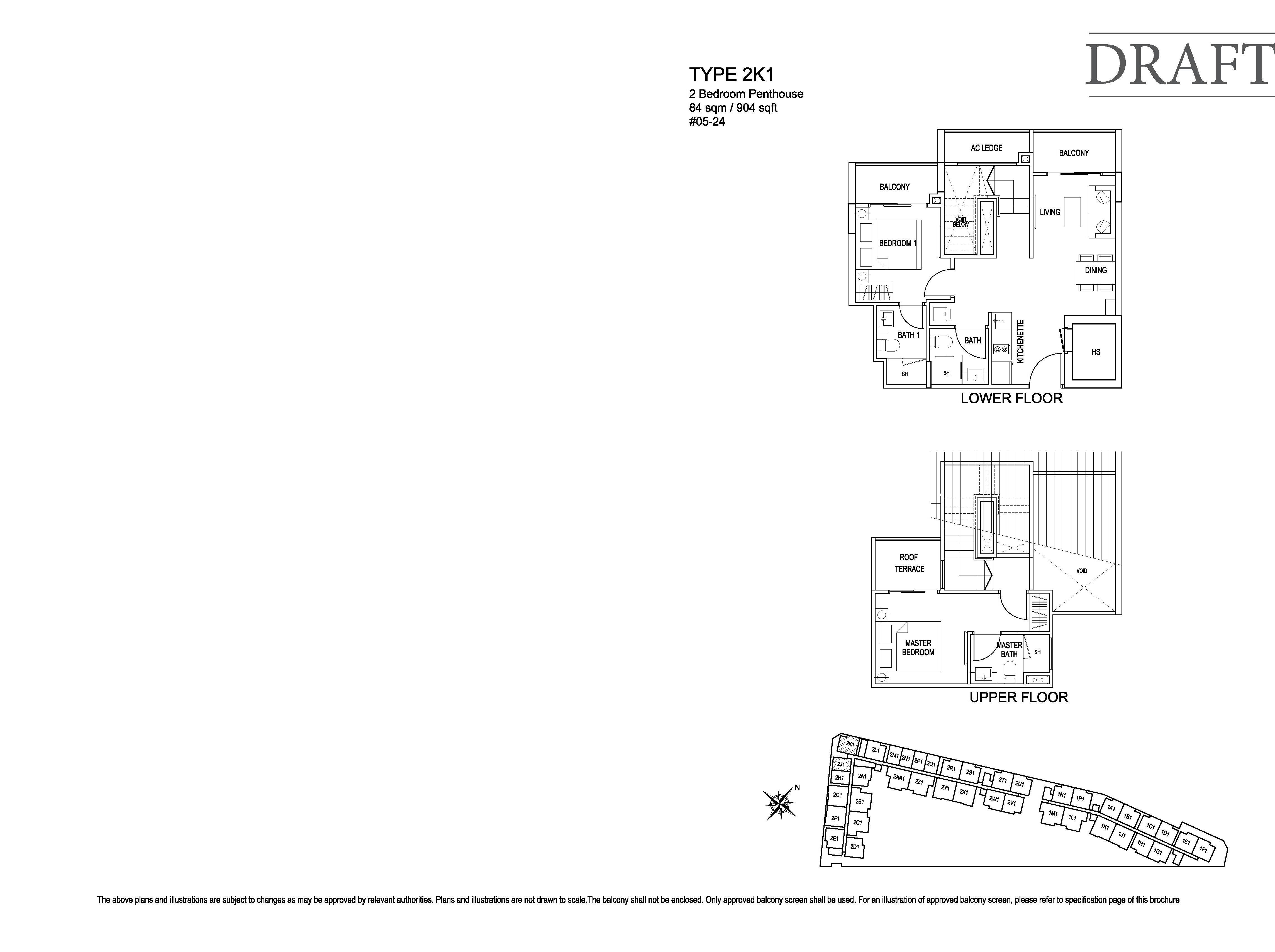 Kensington Square 2 Bedroom Penthouse Floor Plans Type 2K1
