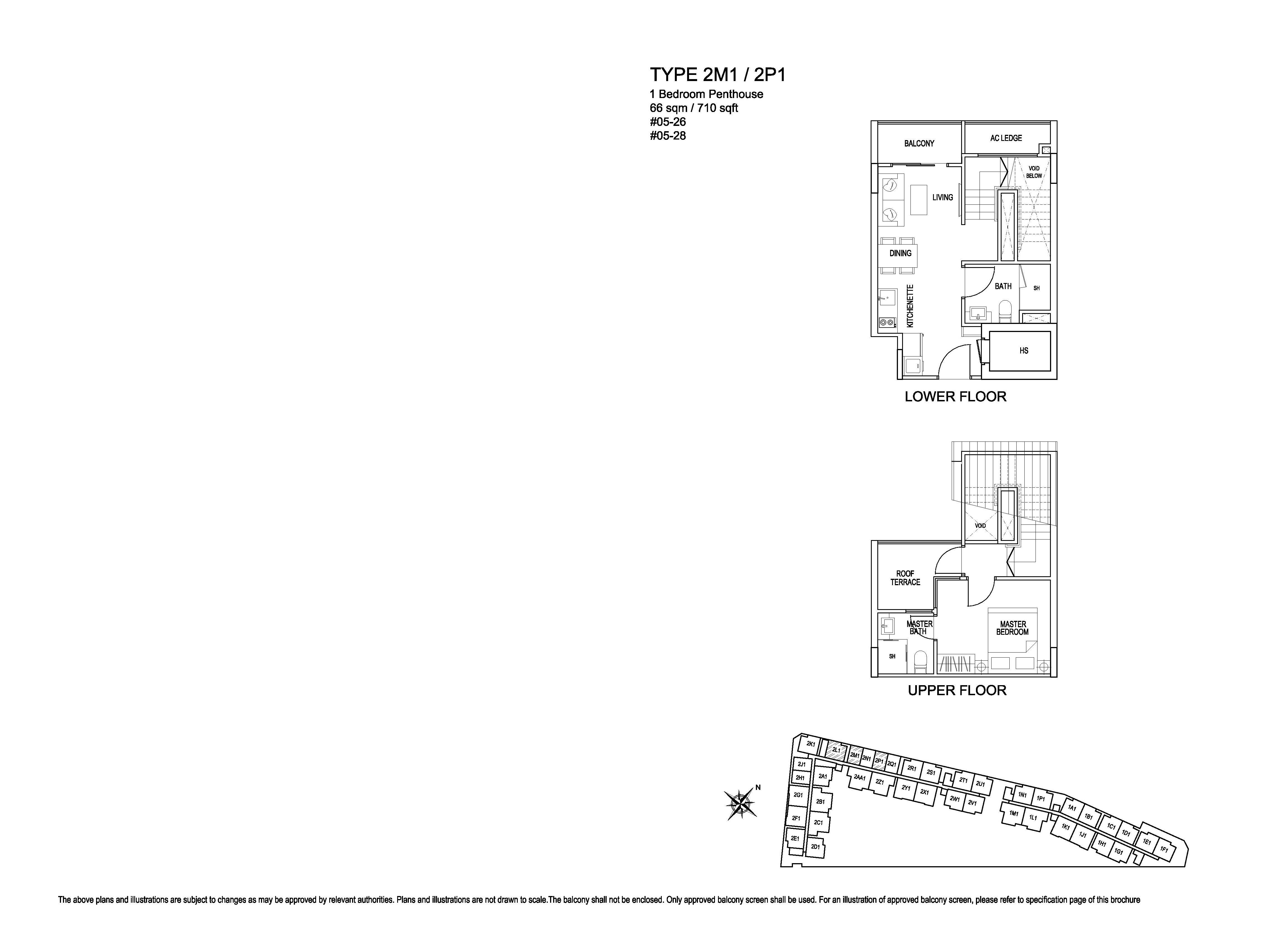Kensington Square 1 Bedroom Penthouse Floor Plans Type 2M1/2P1