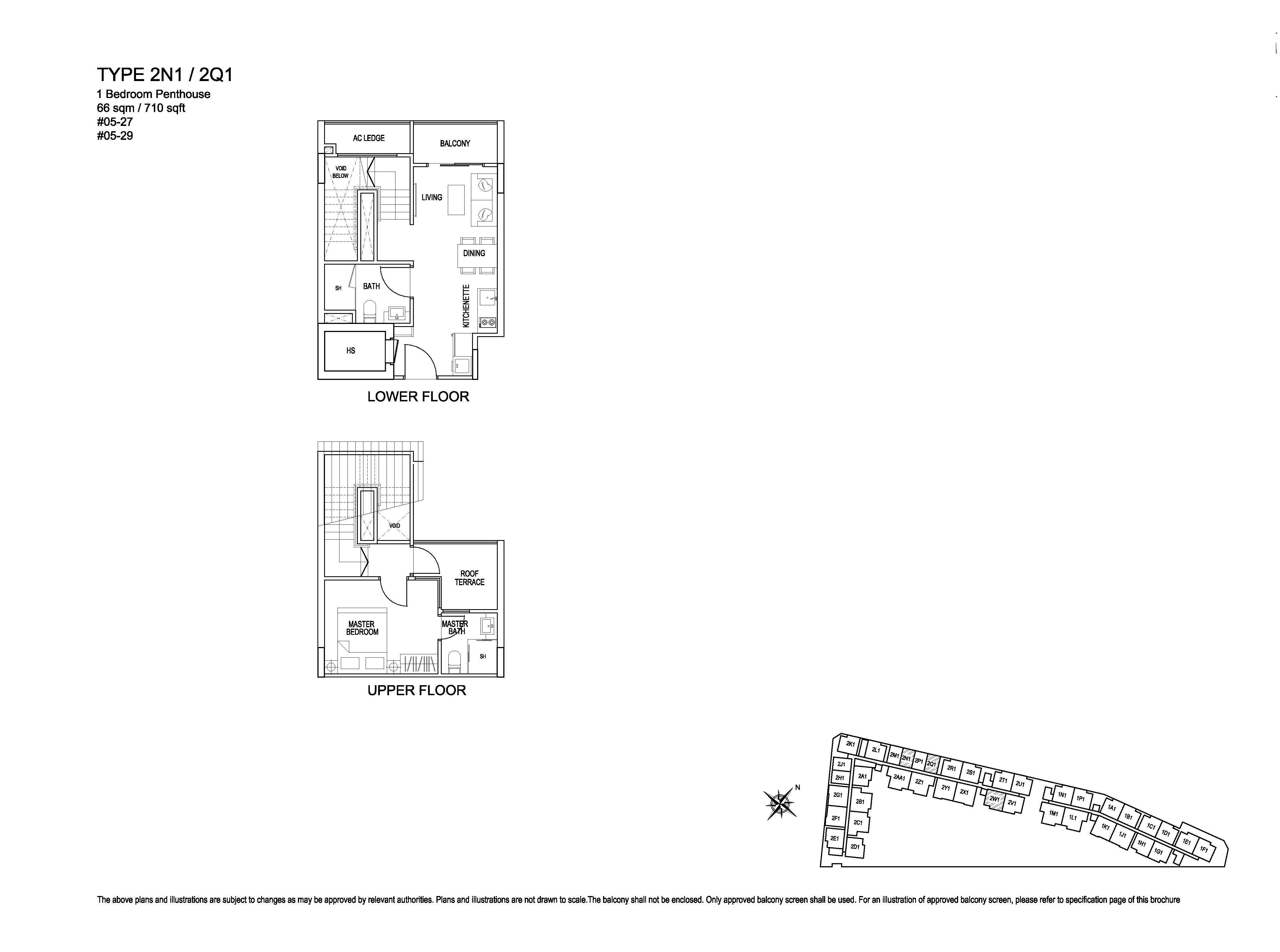 Kensington Square 1 Bedroom Penthouse Floor Plans Type 2N1/2Q1
