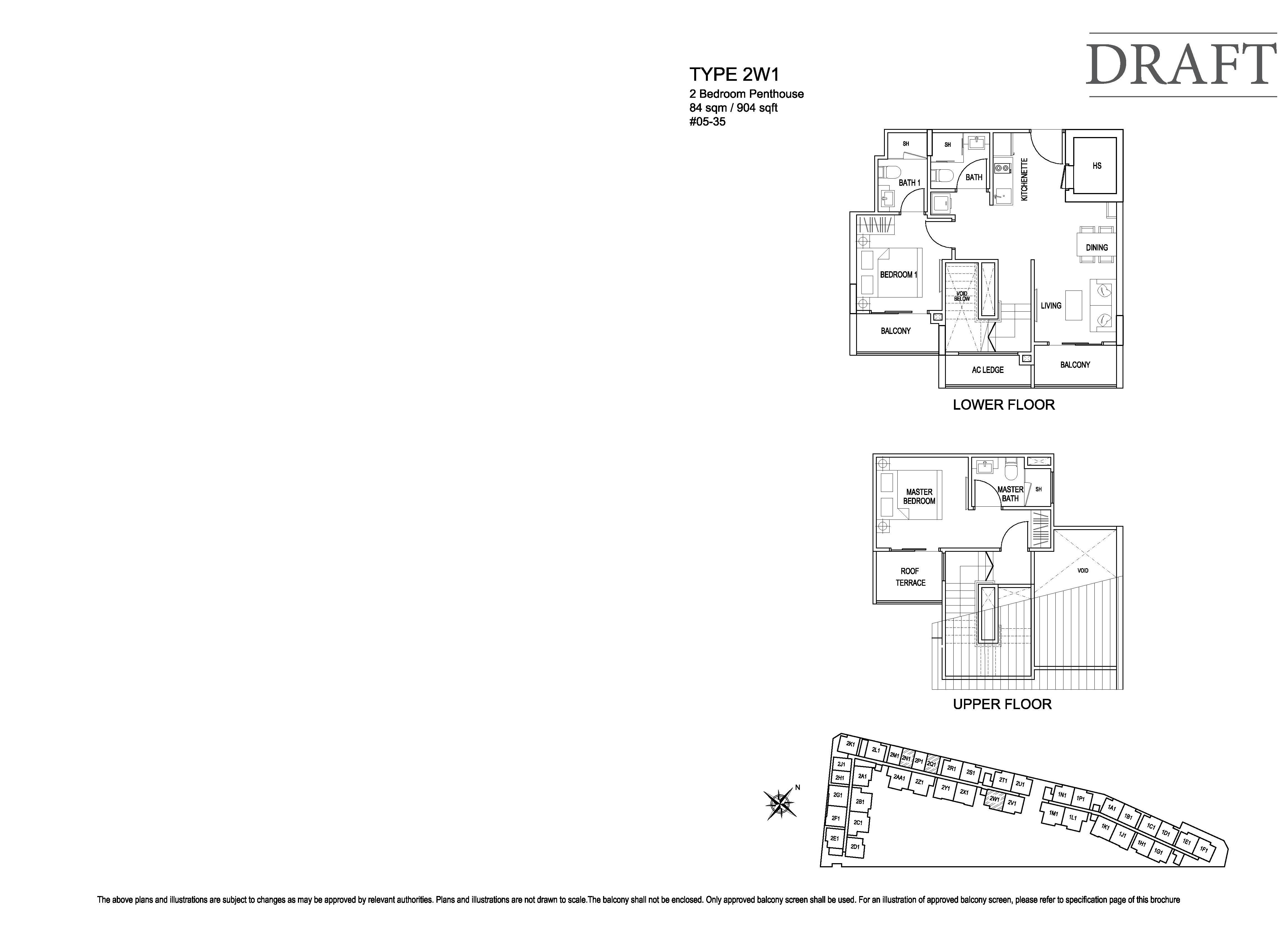 Kensington Square 2 Bedroom Penthouse Floor Plans Type 2W1