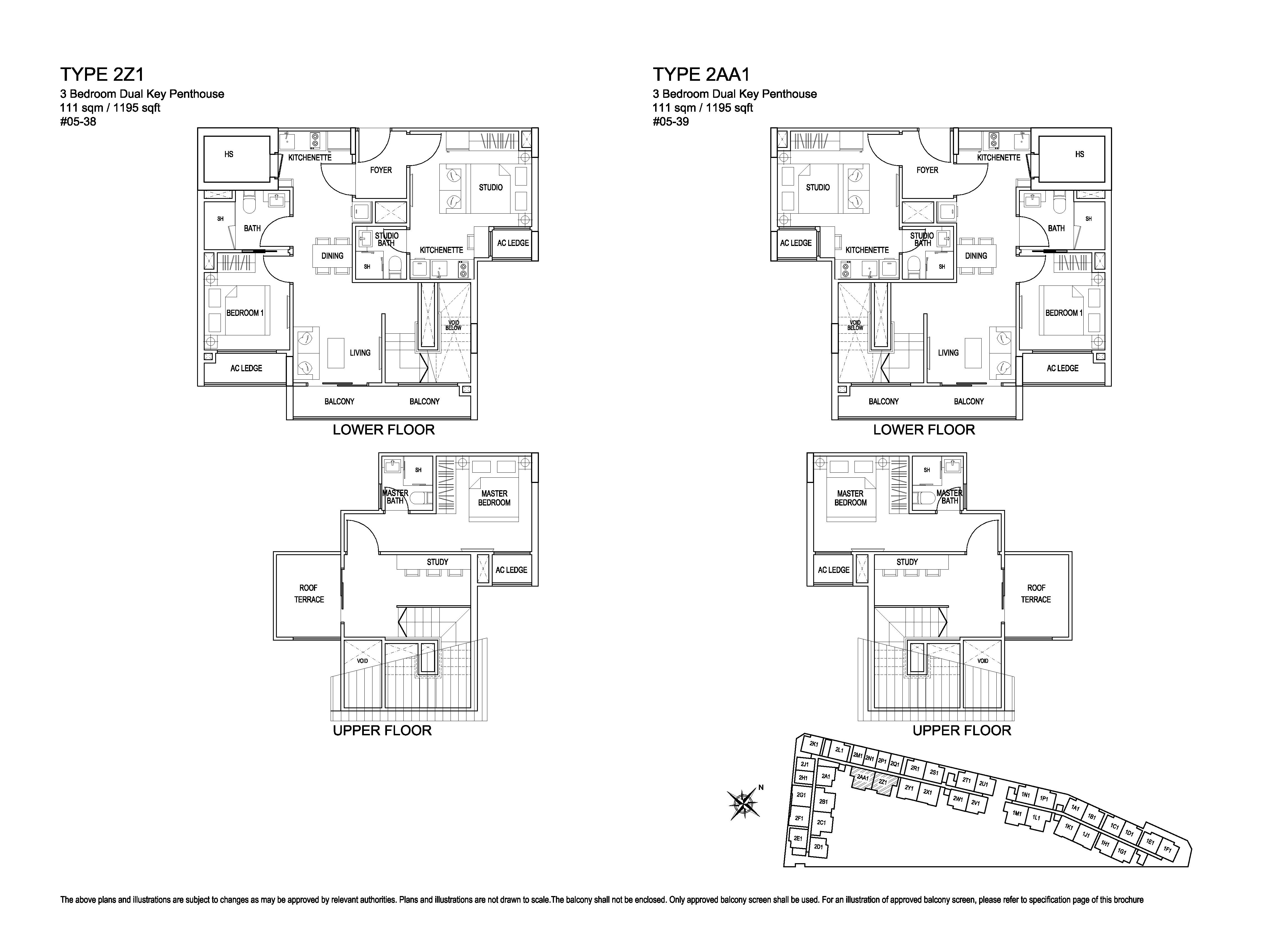 Kensington Square 3 Bedroom Dual Key Penthouse Floor Plans Type 2Z1, 2AA1