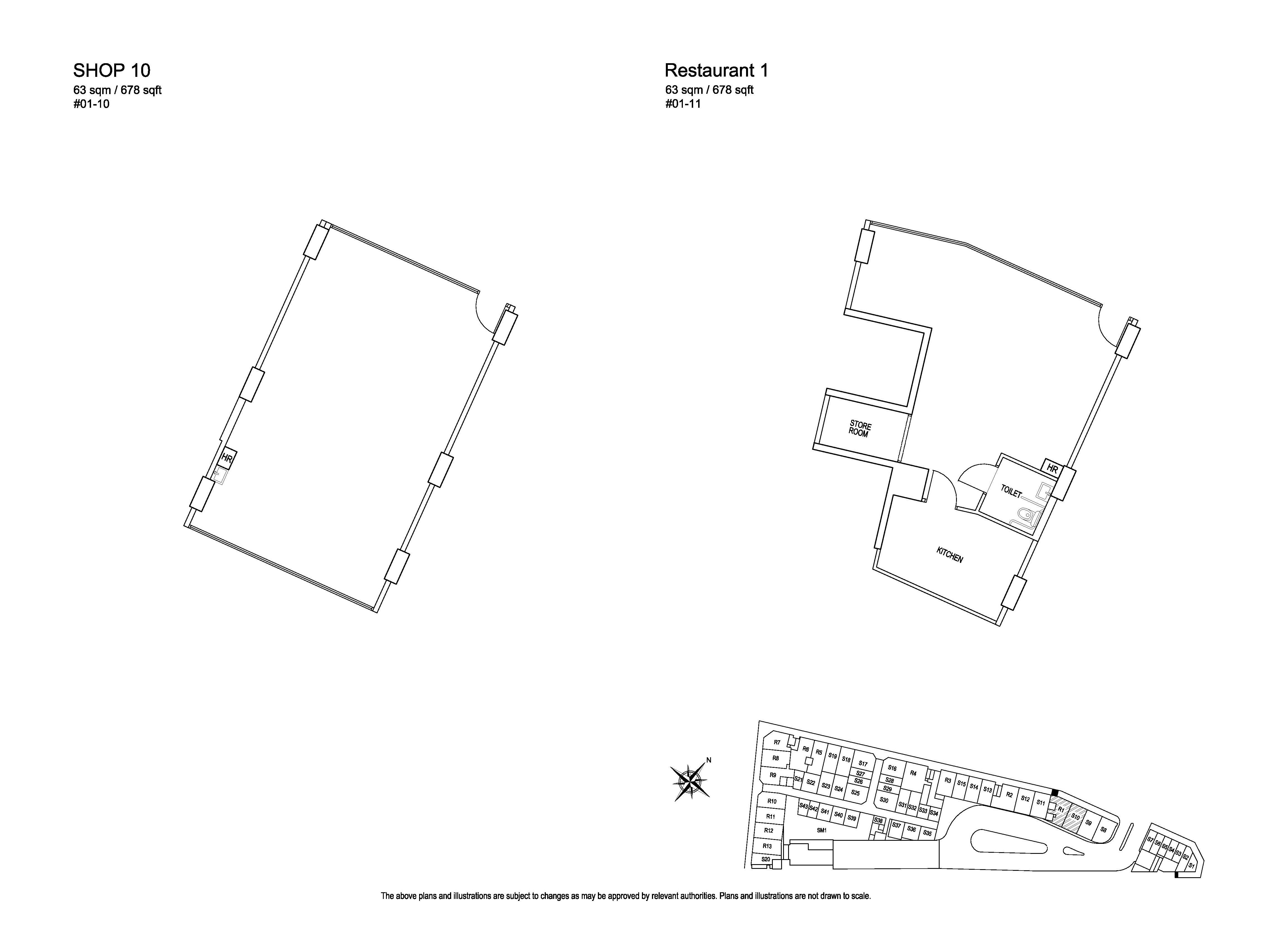 Kensington Square Retail Shop 10, Restaurant 1 Floor Plans