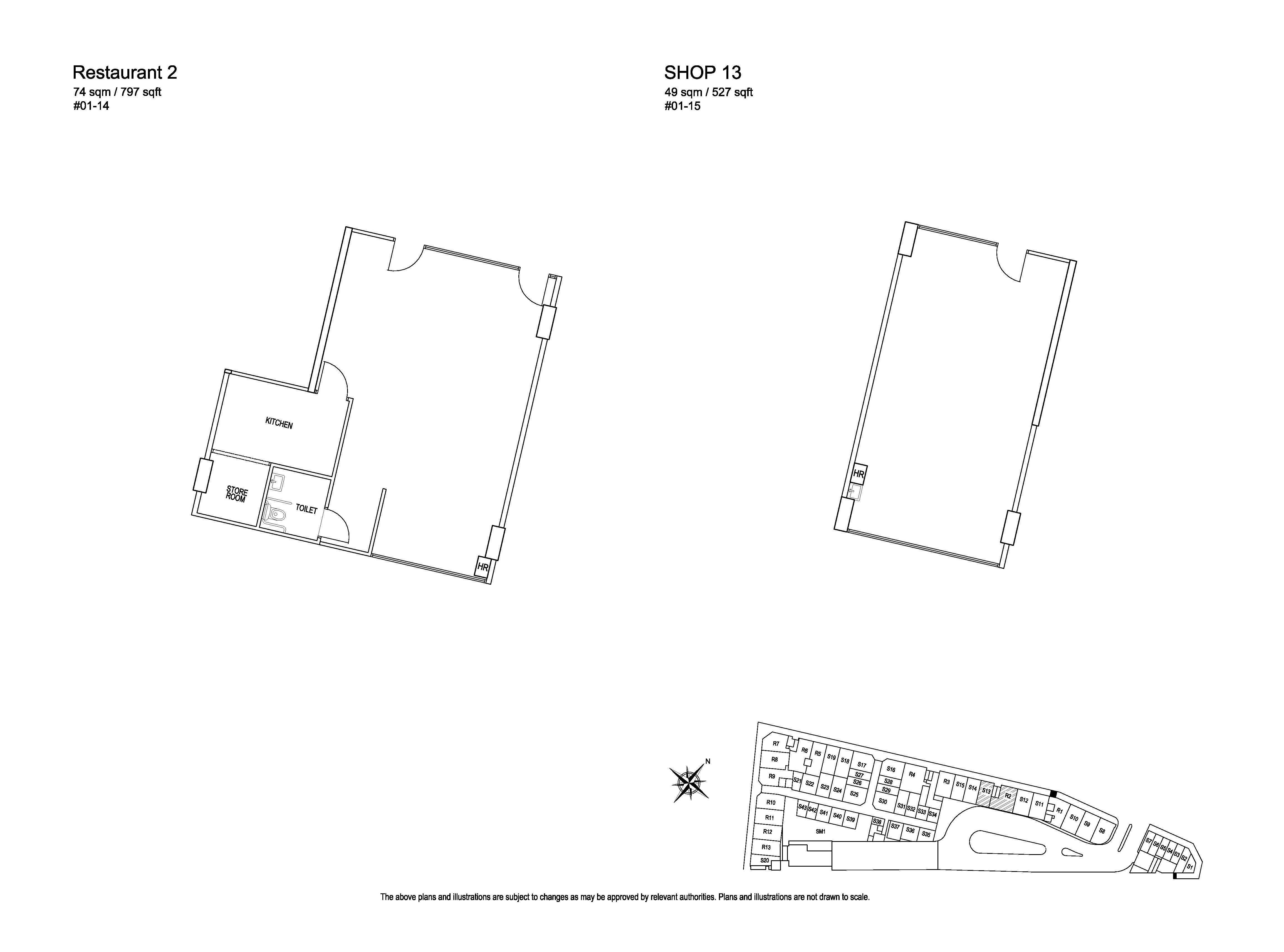 Kensington Square Restaurant 2, Retail Shop 13 Floor Plans