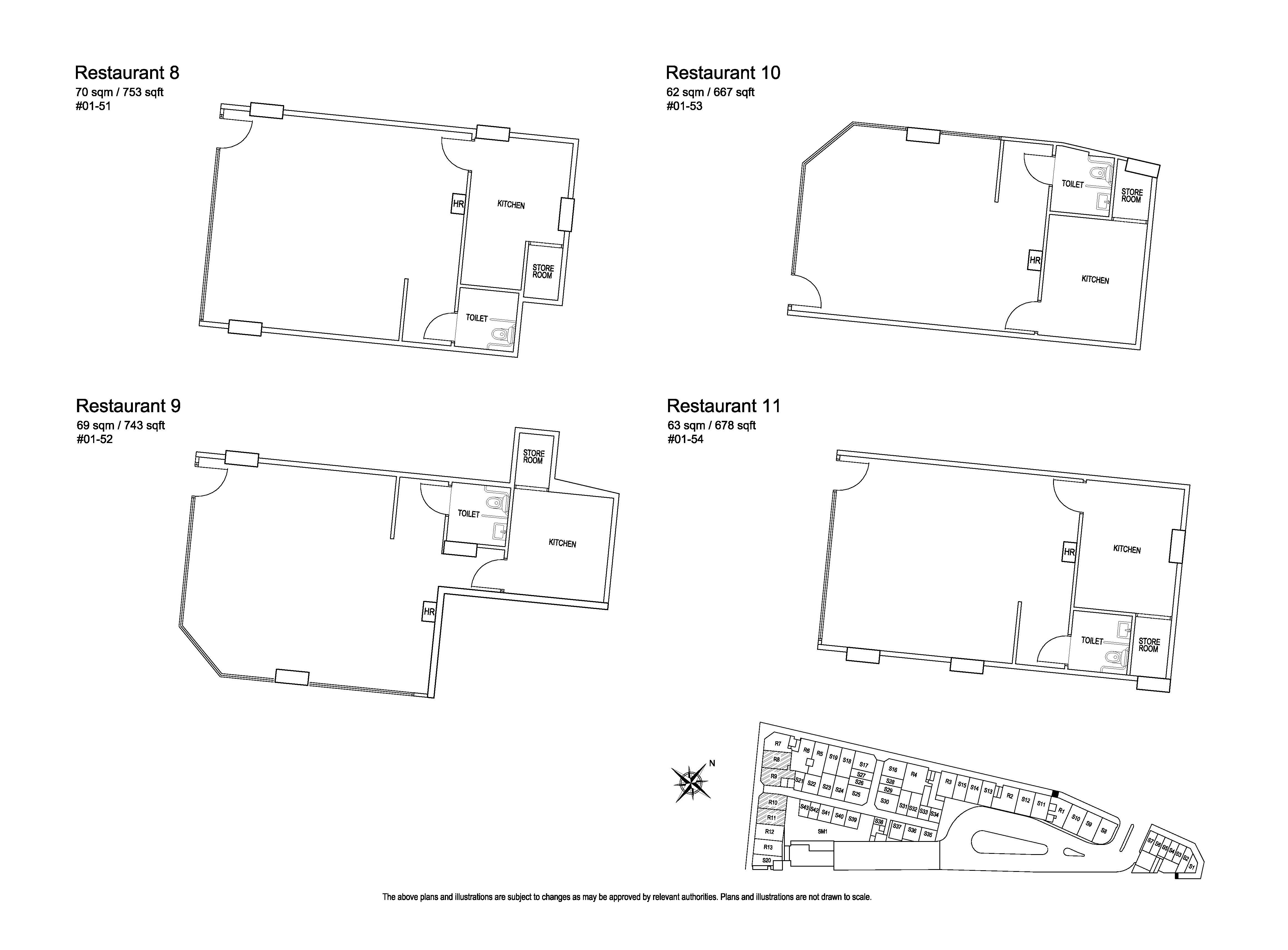 Kensington Square Restaurant 8,9,10,11 Floor Plans
