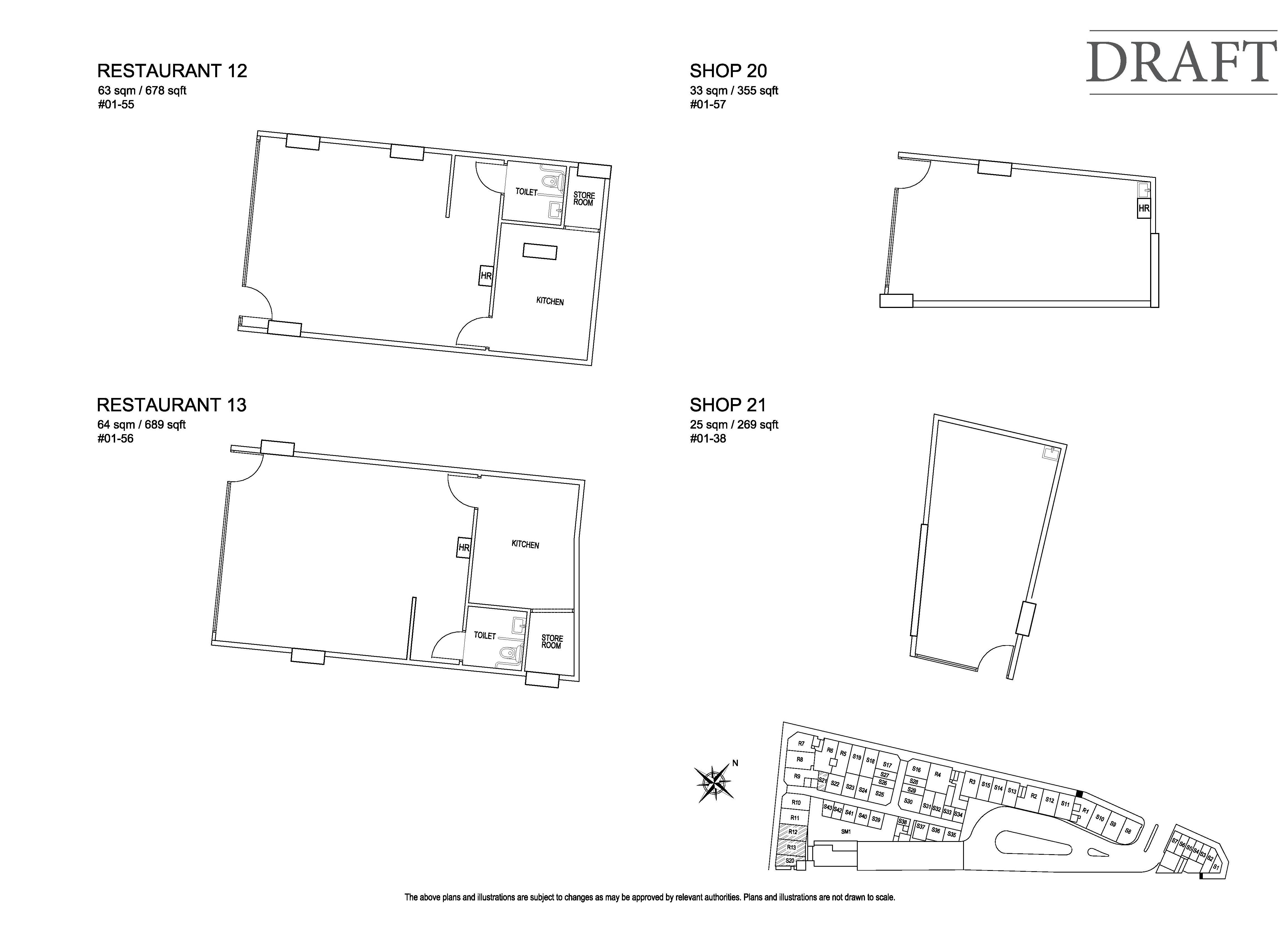 Kensington Square Restaurant 12,13, Shop 20,21 Floor Plans