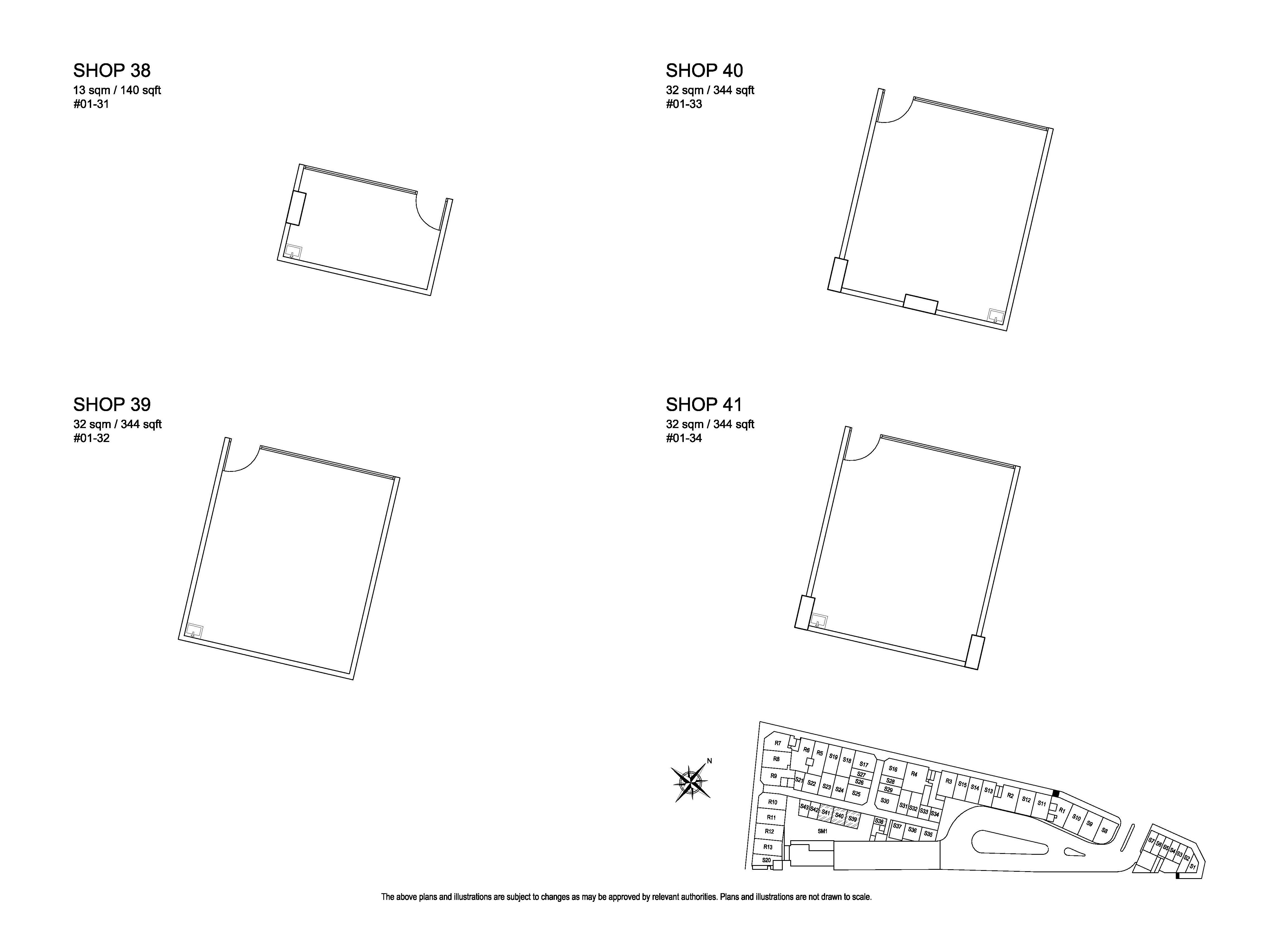 Kensington Square Shop 38,39,40,41 Floor Plans